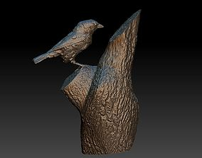 Sparrow on a tree 3D printable model