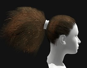 low-poly 3D Hair Female Curly Ponytail Hairstyles