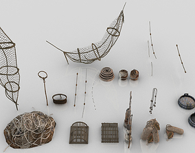 Collection of 24 Medieval Fishing Nets and Tools 3D asset