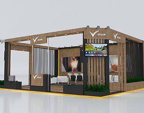 Exhibition Stand 7x9m Height 360 cm 3 Side Open 3D model