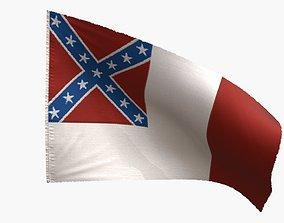US Flag 3rd National Confederate 3D model