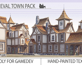 Low-poly medieval houses 3D model