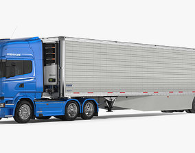 Scania Truck with Vanguard Reefer Trailer Refrigerator 3D