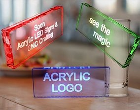 Acrylic with led signs 3D asset VR / AR ready