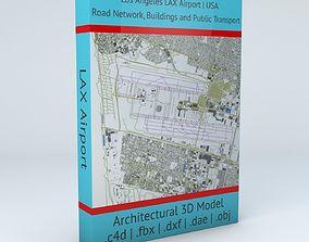 Los Angeles LAX Airport Roads Buildings Public 3D model 2
