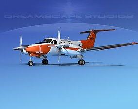 Beechcraft UC-12Q Huron V02 USN 3D model rigged