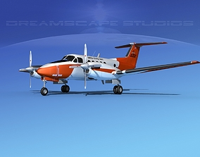 Beechcraft UC-12Q Huron V02 USN 3D model rigged