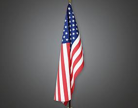 3D asset American Flag Interior Pole Holder BHE - PBR Game