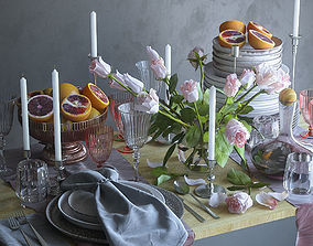 Table setting with pink roses 3D model