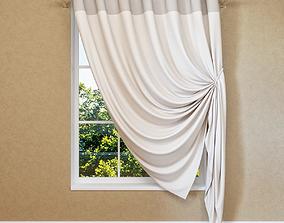 Modern curtain on eyelets 3D