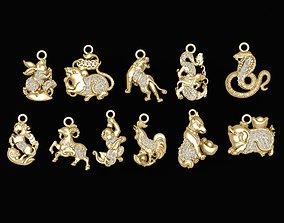 1580 Set Diamond Animal Pendant 3D printable model