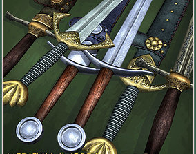 3 Two-Handed Medieval Swords 3D asset low-poly