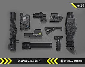 Weapon Mods Vol 1 - FPS Gun Attachments for 3D asset 1