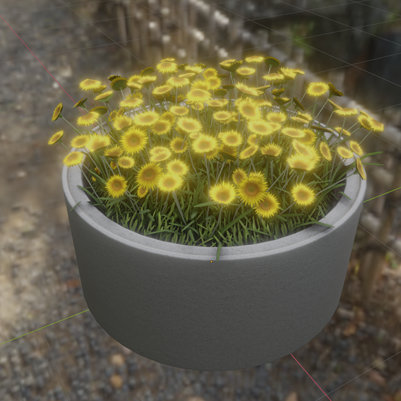 Concrete Pipe Pot 1500mm with Small Sunflowers Flower Version 1 (Blender-2.91 Eevee)