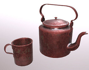 Old copper teapot and cup 3D model
