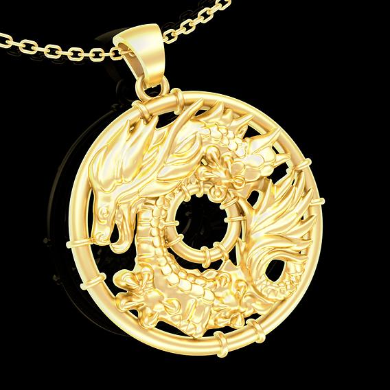 Ring Dragon Pendant jewelry Gold 3D print model