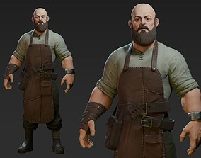 3D model low-poly Blacksmith