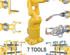 Industrial Robotic Arm and 7 tools 3D model claw