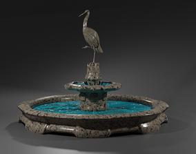 3D asset Fountain with sculpture