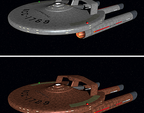 USS Armstrong warship TOS style Star Trek 2009 3D