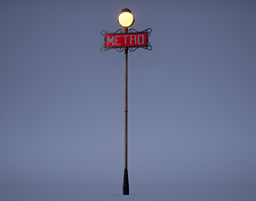Metro Sign Low Poly Game Ready 3D model