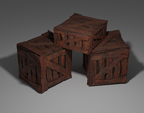 Stylized wooden RPG crates 3D model
