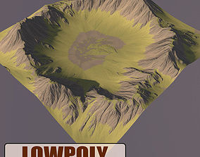 Lowpoly Mountain 3D asset game-ready map