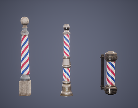 Barber Pole Set Low Poly Game Ready 3D asset