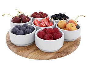 Berries in bowls 3D