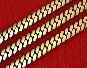 3 TYPES OF CUBAN LINK CHAIN SOLID AND 3D printable model 2