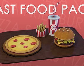 Fast Food Stylized Low-Poly Pack 3D asset VR / AR ready