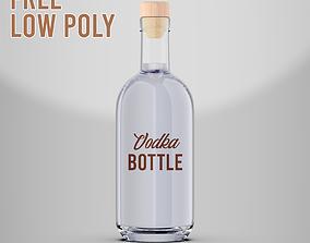 Free Vodka Bottle Low Poly 3D asset