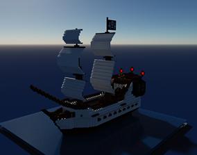 3D model realtime Voxel Pirate Ship