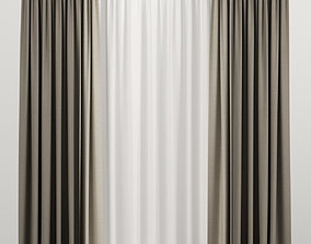 Brown curtains with tulle 3D interior houseware