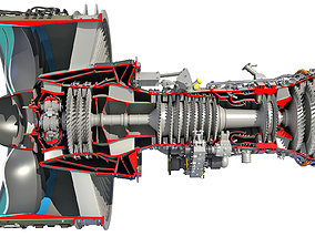 3D model GTF Cutaway Turbofan Engine