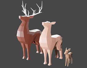 Deer Family Low-Poly 3D asset