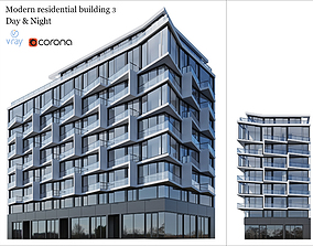 Modern residential building 2 3D model