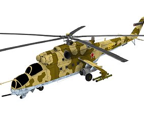 Lowpoly Mil Mi-24 Helicopter 3D Model realtime