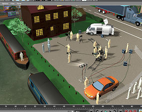 TV filming by a canal 3D