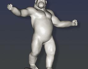 3D printable model Standing gorilla on base -