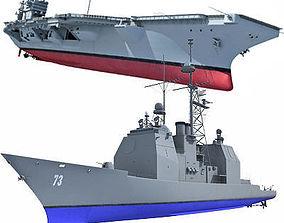 Set of 2 US Navy Ships 3D model