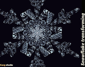 Snowflake transforming 3d animation animated