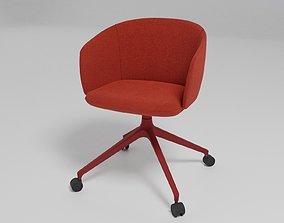 GRACE - Swivel trestle-based fabric chair with castors 3D