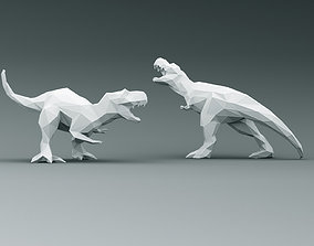 3D PRINTED MODEL T-REX -Line-triangulate-style