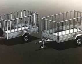 back Semi Trailer for privte car 3D
