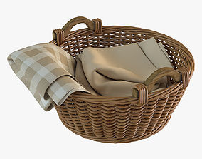 Wicker Basket with Cloth 3D