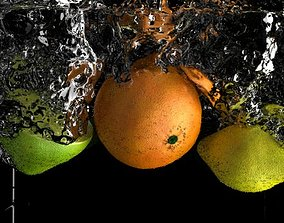 Realistic fruit splash 3D model