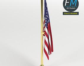 3D model American flag office decor