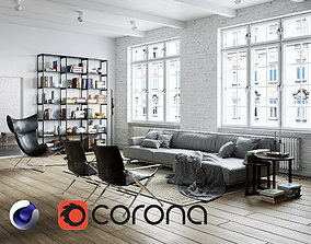 3D model Living Room Interior Scene for Cinema 4D and 1