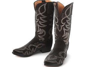 Black Color Knee Cover Boots 3D model